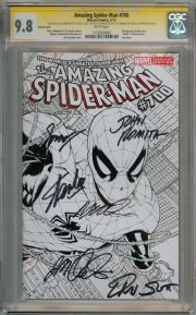Amazing Spider-man #700 Sketch Variant 1:150 CGC 9.8 Signature Series Signed x6 Stan Lee Marvel